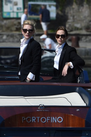 PORTOFINO, ITALY - MAY 18:  Emily Blunt and Cate Blanchett are seen while filming for the International Watch Company (IWC)  on May 18, 2014 in Portofino, Italy.  (Photo by Photopix/GC Images)