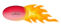 sherrin football used by aussie rules with burnng flames