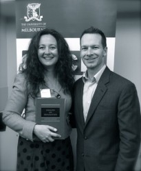 "Natalie Hickey and Dr Matt Collins QC at the launch of ""Collins on Defamation"" at University of Melbourne on 4 June 2014"