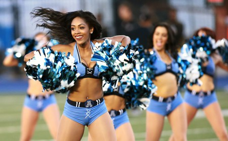 TORONTO, ON - JUNE 19:  Cheerleaders of the Toronto Argonauts perform as the Argonauts face the Hamilton Tiger-Cats in Toronto, Canada. (Photo by Dave Sandford/Getty Images)