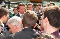 MELBOURNE, AUSTRALIA - SEPTEMBER 19:  James Hird the Essendon coach speaks to the media outside the Melbourne Federal Court on September 19, 2014 in Melbourne, Australia.  (Photo by Quinn Rooney/Getty Images)