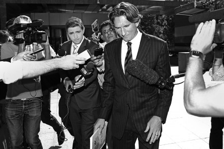 MELBOURNE, AUSTRALIA - NOVEMBER 10:  Essendon Bombers coach James Hird leaves the Melbourne Federal Court on November 10, 2014 in Melbourne, Australia.   (Photo by Michael Dodge/Getty Images)