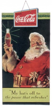 DECEMBER 01:  Publicity of Christmas for the soda Coca cola, publishing in 1934 and realised by Haddon Sundblom who works for Coca in 1931 to 1960  (Photo by Apic/Getty Images)