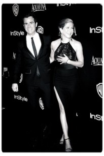 BEVERLY HILLS, CA - JANUARY 11:  Actors Justin Theroux and Jennifer Aniston a 72nd Annual Golden Globe Awards Post-Party at The Beverly Hilton Hotel on January 11, 2015 before they were told by a women's magazine that they were not meant to be together  (Photo by Jason Merritt/Getty Images)