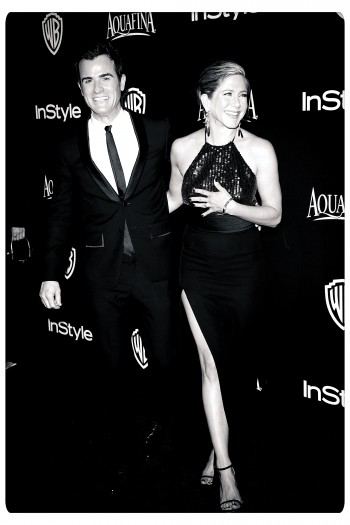 BEVERLY HILLS, CA - JANUARY 11:  Actors Justin Theroux and Jennifer Aniston before they were told by a women's magazine that they were not meant to be together, at a 72nd Annual Golden Globe Awards Post-Party at The Beverly Hilton Hotel on January 11, 2015  (Photo by Jason Merritt/Getty Images)