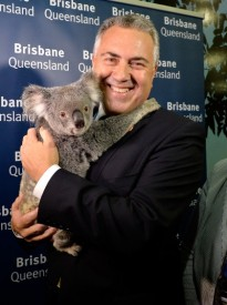 BRISBANE, AUSTRALIA - NOVEMBER 13: Treasurer Joe Hockey is seen holding a furry friend during happier times - an official walk through the Brisbane Convention & Exhibition Centre on November 13, 2014 in Brisbane, Australia.  (Photo by Bradley Kanaris/Getty Images)