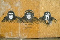 VENICE ITALY - MAY 22 2015: Graffiti painting of three cool wise monkeys with a modern day interpretation of hear no evil see no evil speak no evil. Cannaregio Venice.