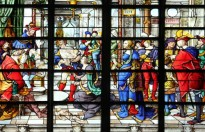 PARIS - NOV 07, 2012: Wisdom of Solomon: Judgement of Solomon, stained glass, church is dedicated Gervasius and Protasius is one of the oldest in Paris