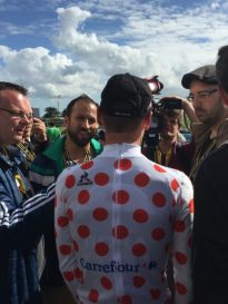 Paul Voss for Bora-Argon 18 is interviewed after securing the polka dot jersey after Day 1, 2016 Tour de France; copyright N Hickey & C Fox
